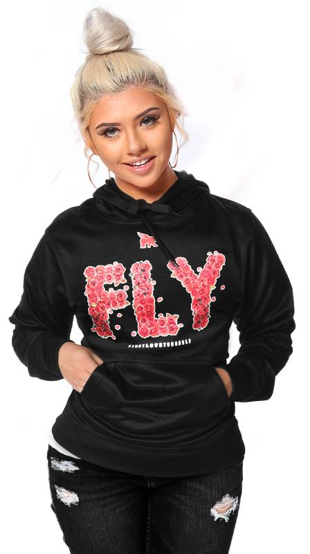*FREE TODAY<br>FLY Rose Print Lifestyle Hoodie