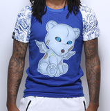 Problem Bear Raglan - Blue w/ White Sleeve