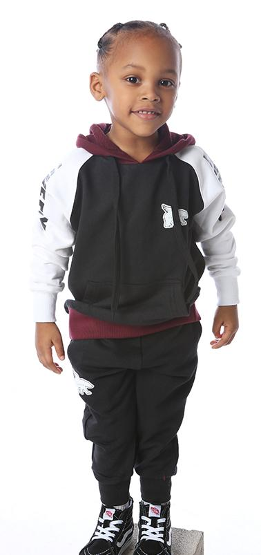 TODDLER ALL DAY Color Block Hoodie Pullover Outfit: Black