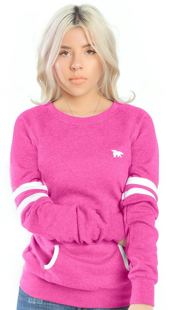 Flypolar Varsity Pocketed Crewneck - Pink/White