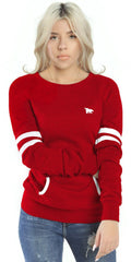 Flypolar Varsity Pocketed Crewneck - Red/White