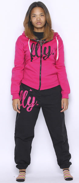 FLY. PINK Hoodie/BLACK Pants Sweatsuit ZIP-UP (UNISEX FIT)