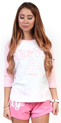 Way Too Fly Raglan (pink/white)