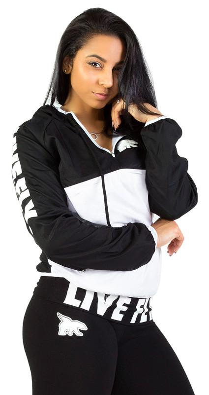 Women's LIVE FLY. Anorak Windbreaker Pullover: BLACK