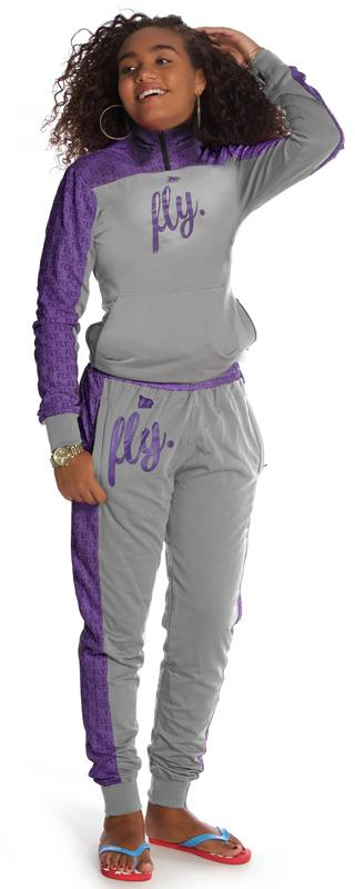 KIDS FLY. Worldwide Zip-Up Outfit: PURPLE/GREY