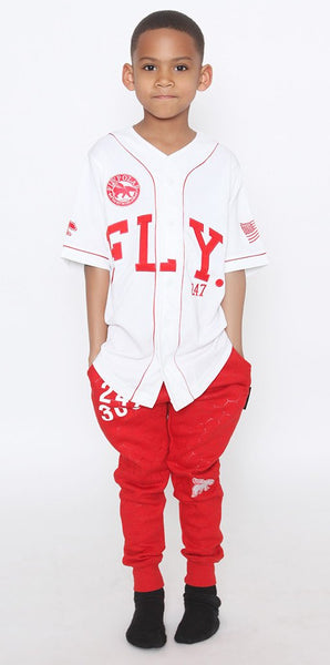 KIDS FLY 24/7 365 JERSEY - White w/ Red Trim