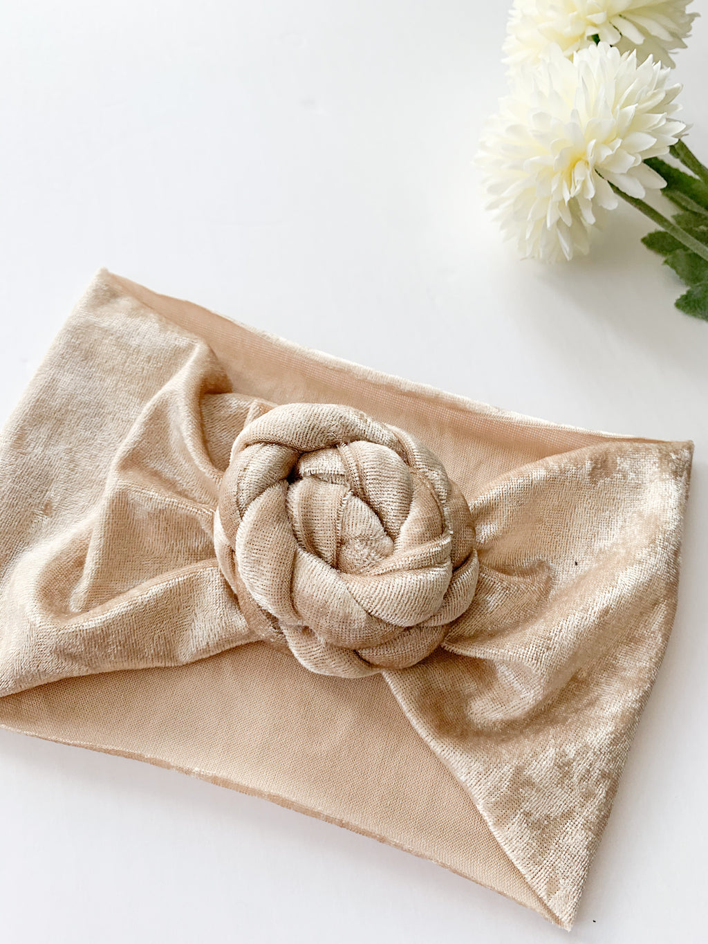 The Sophie Velvet Headband: Sand