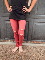 The Sabrina Distressed Leggings: Mulberry