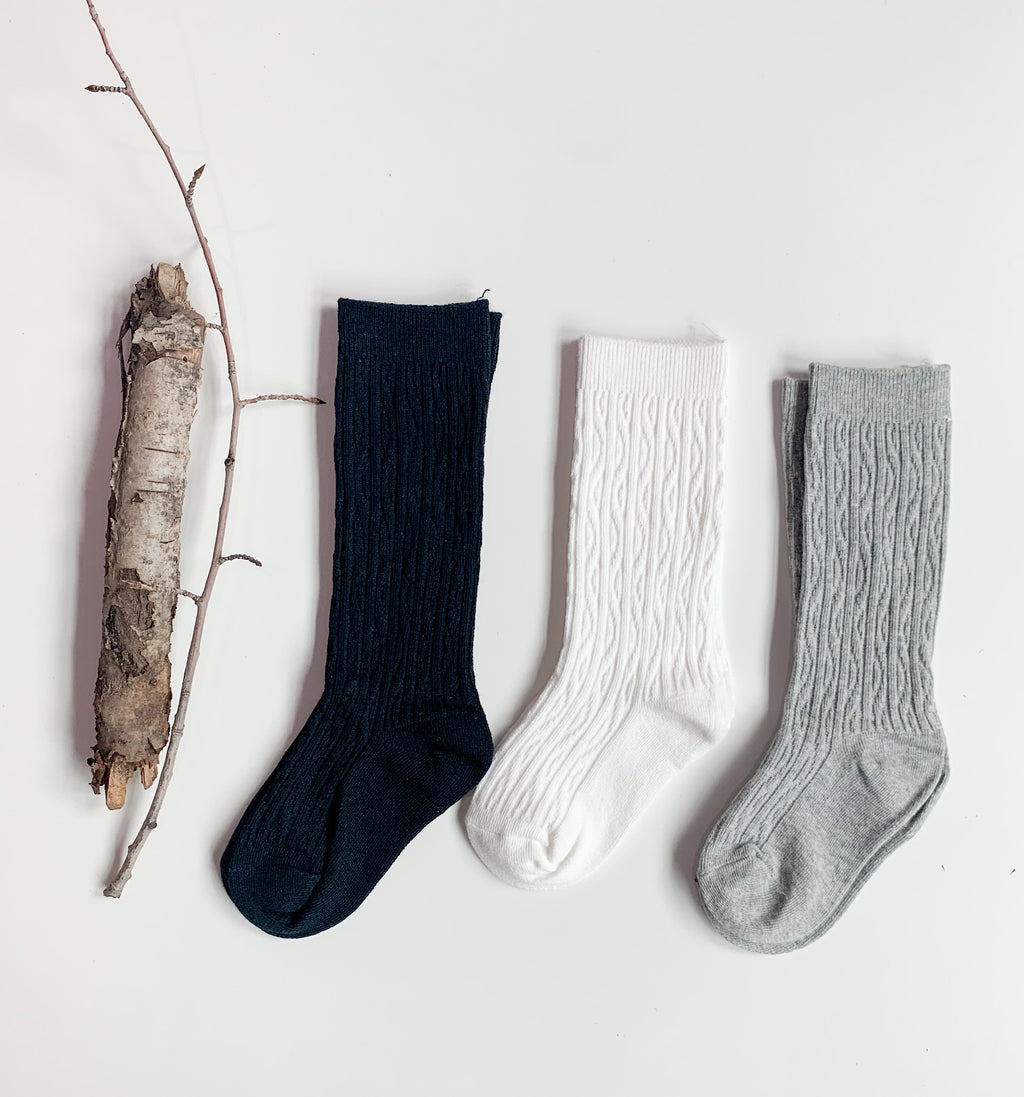 Toddler Cable Knit Knee Socks: Cloud Grey
