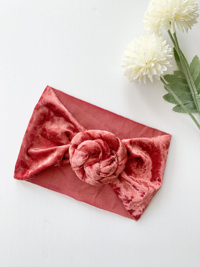 The Sophie Velvet Headband: Cranberry