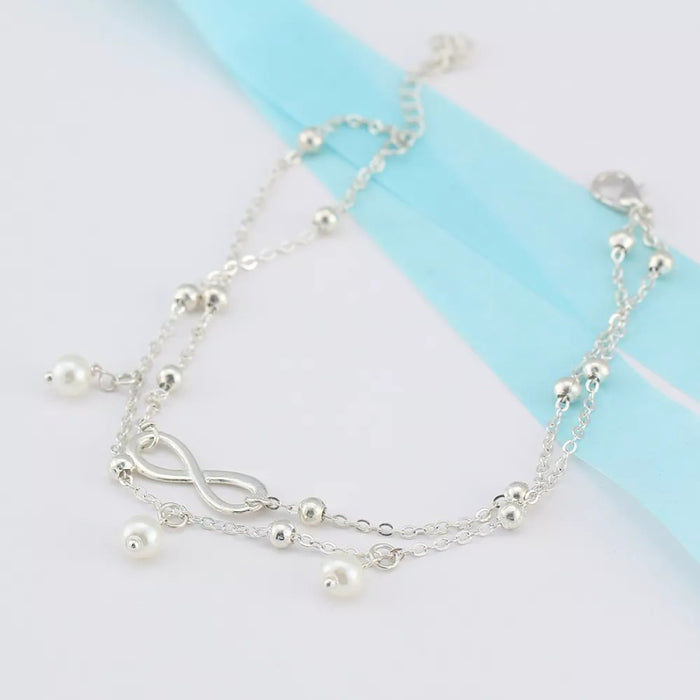 Creative Double Chain Beach Infinity Anklet