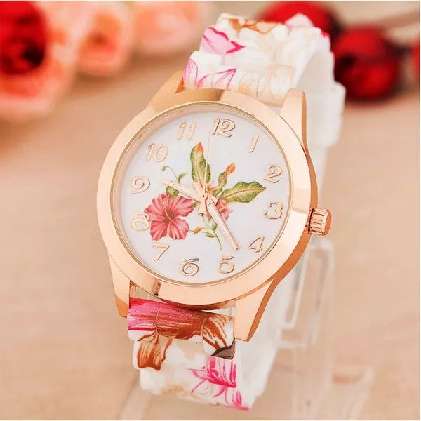 Girl Silicone Printed Flower Causal Quartz Wrist Watch