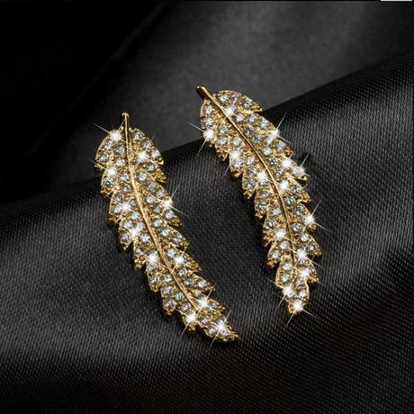 Howie Small Fresh Micro Set Zircon Gold Silver Leaf Earring Version Fashion Wear