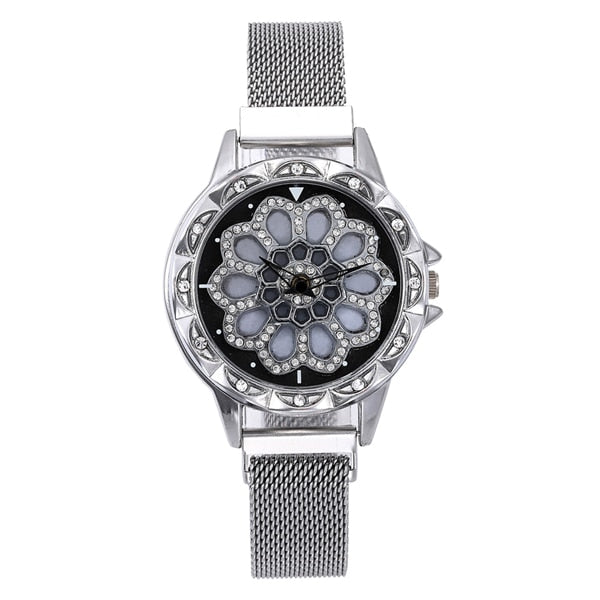 360 Degree Rotation Women Mesh Magnet Buckle Starry Sky Watch Luxury Fashion Ladies Geometric Quartz Watch Relogio Feminino