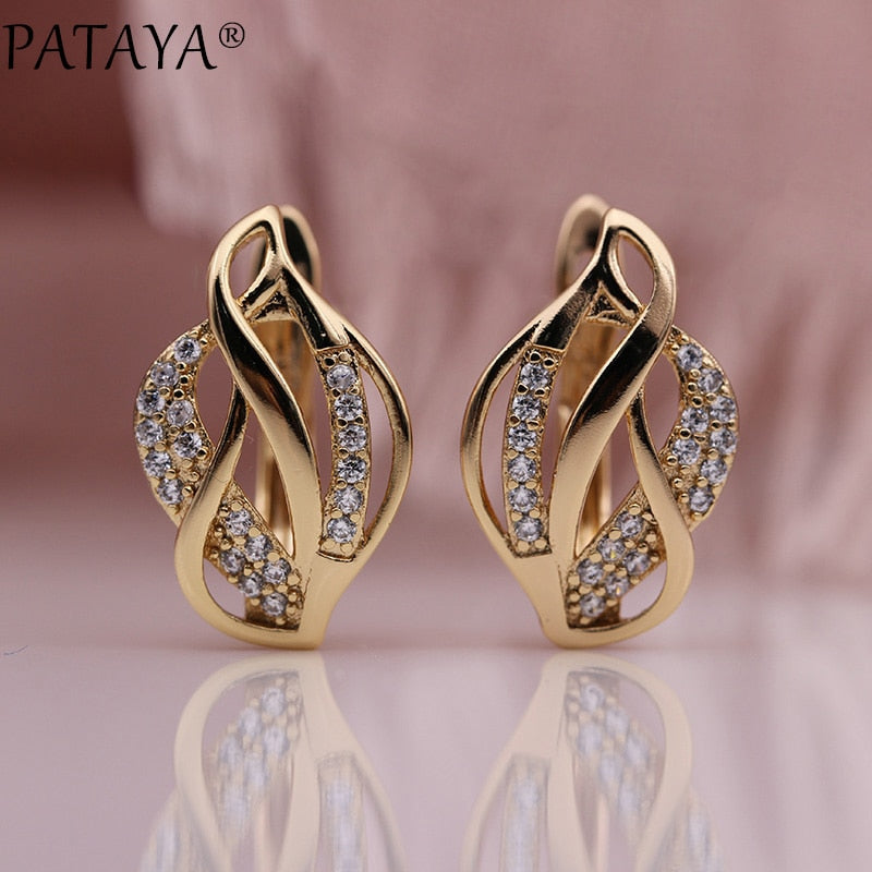 PATAYA New Leaf Shape Hollow Earring 585 Rose Gold Women Cute Fine Party Fashion Jewelry White Round Natural Zircon Drop Earring