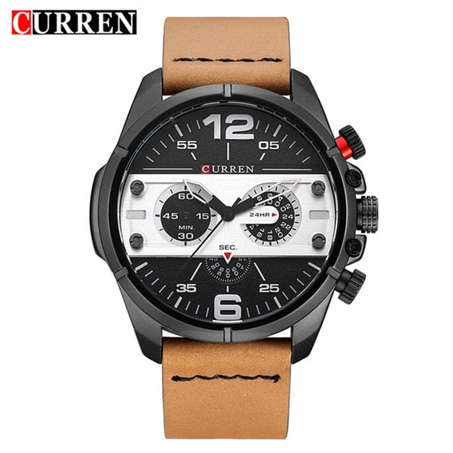 CURREN New Watches Men Luxury Brand Army Military Watch Male Leather Sports Quartz Wristwatches Relogio Masculino 8259