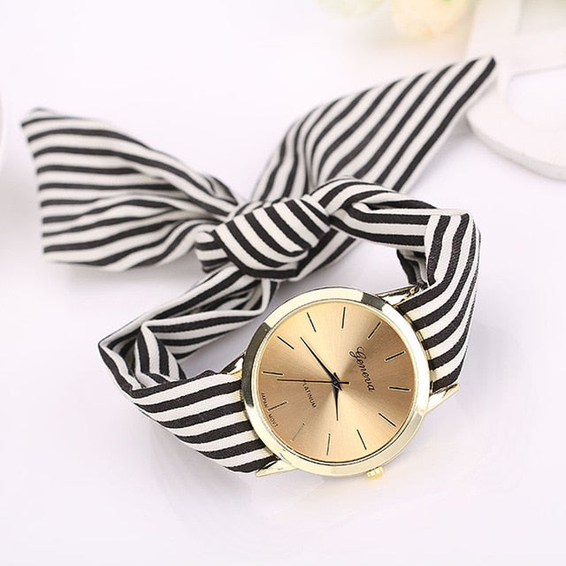 relogio feminino women watches Stripe Floral Cloth Band Clock Dial Bracelet Quartz Wristwatch erkek kol saati Montre Femme 2019#