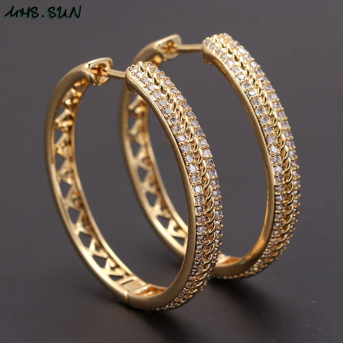 MHS.SUN Hollow design women luxury round hoop earrings fashion cubic zirconia gold color earrings for party gift 1pair dropship