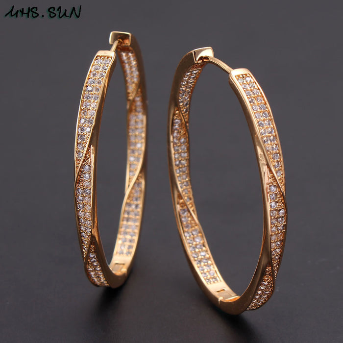 MHS.SUN fashion cubic zircon hoop earrings fashion women big circel cz crystal earrings simple round ear jewelry gift drop ship