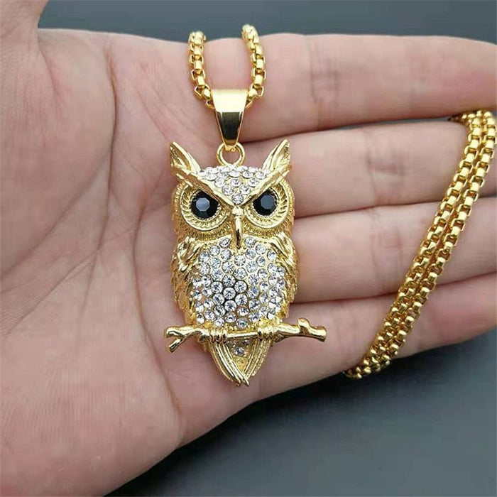 Hip Hop Iced Out Owl Pendant Necklace For Women Gold Color Stainless Steel Animal Bling AAA CZ Necklace Women's Jewelry