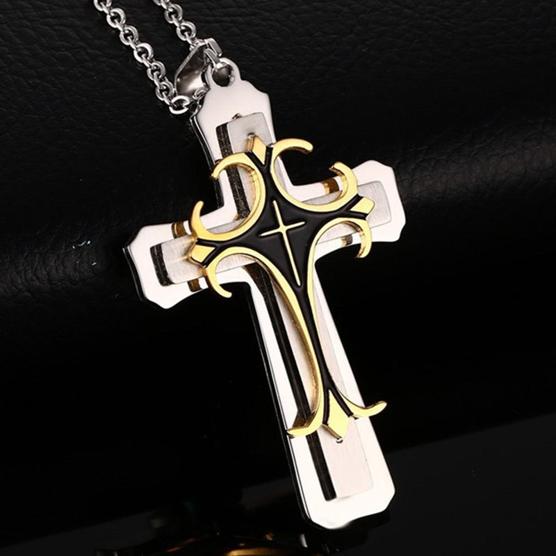2019 New Fashion Cross Pendant Necklace for Men Multi-layer Metal  Creative Cross Gold and Silver Pendant Long Necklace