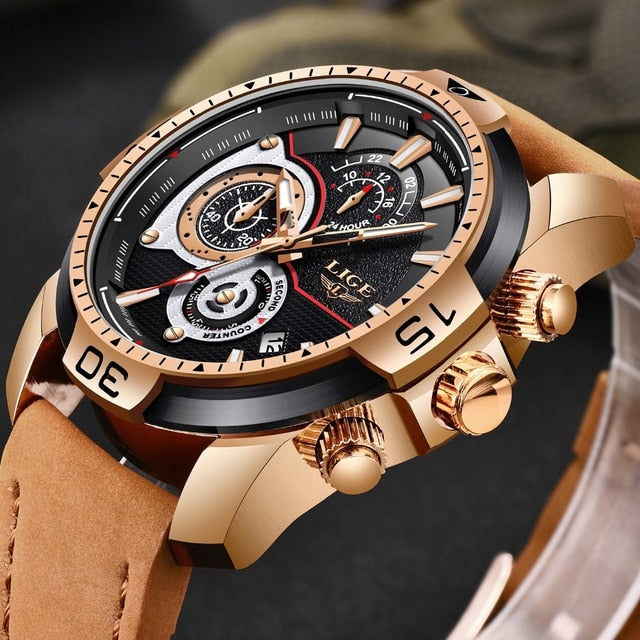 LIGE Men's Watch Business Deluxe Quartz Watch Timer Automatic Synchronization Date Engraving Craft Dial Military Watch