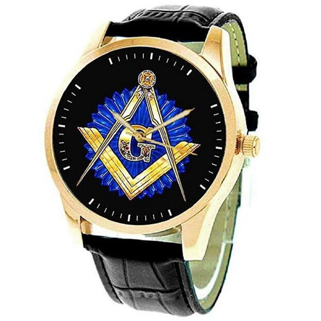 Masonic Watch Freemasonry Chrome Square Compass Mason Retro Quartz Watch Best Gifts for Freemason B