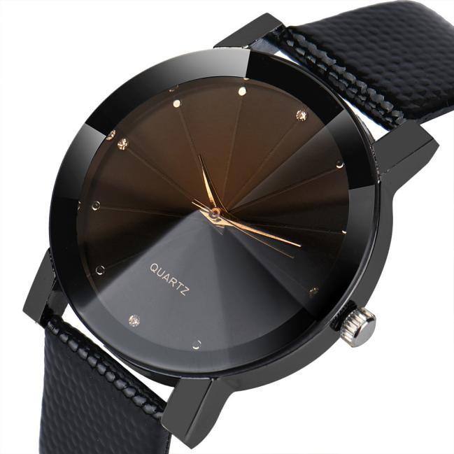 New Men Quartz Dial Clock Leather Wrist Watch Round Case Luxury Sport Military Stainless Steel Band Silver 12-hour Dial