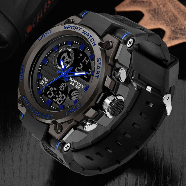 SANDA Sport Wrist Watch Men Watches Military Army Famous Brand Wristwatch Dual Display Male Watch For Men Clock Waterproof Hours