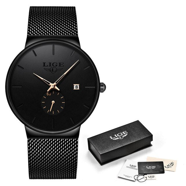 LIGE Quartz Watch Women For Men Watch Top Brand Luxury Unique Design Fashion Watches Unisex Ultra Thin Wrist Watch Para Hombre