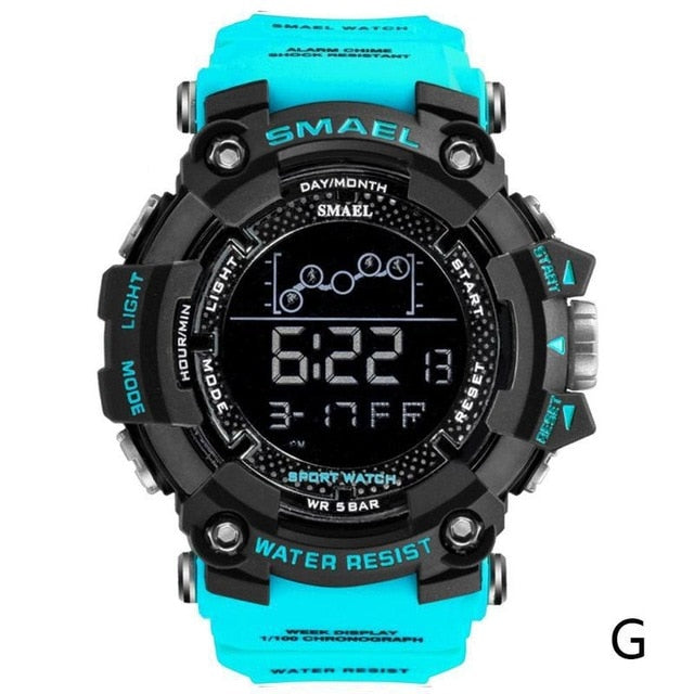 2019 Smael Single Display Multi-function Electronic Sports Waterproof Student Table Calendar Week Night Light Watch Men Watches
