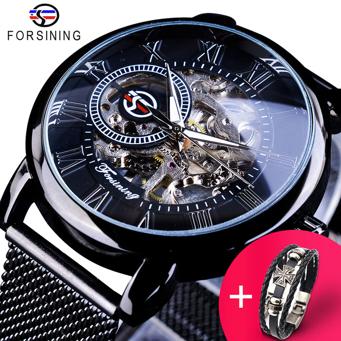 Forsining Watch + Bracelet Set Combination Skeleton Sport Mechanical Luminous Hands Transparent Mesh Steel Band Men Luxury Clock