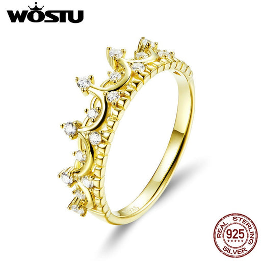WOSTU Real 925 Sterling Silver Gold Color Queen Crown Ring Zircon Finger For Women Wedding Engagement Rings 925 Jewelry CQR493