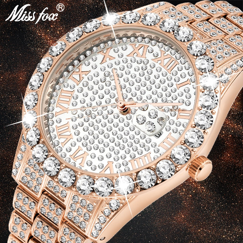 MISSFOX Dropshipping Watch Men Rose Gold Big Diamond Calendar Men's Watch Top Brand Luxury Waterproof Iced Out Watch Hot 2019