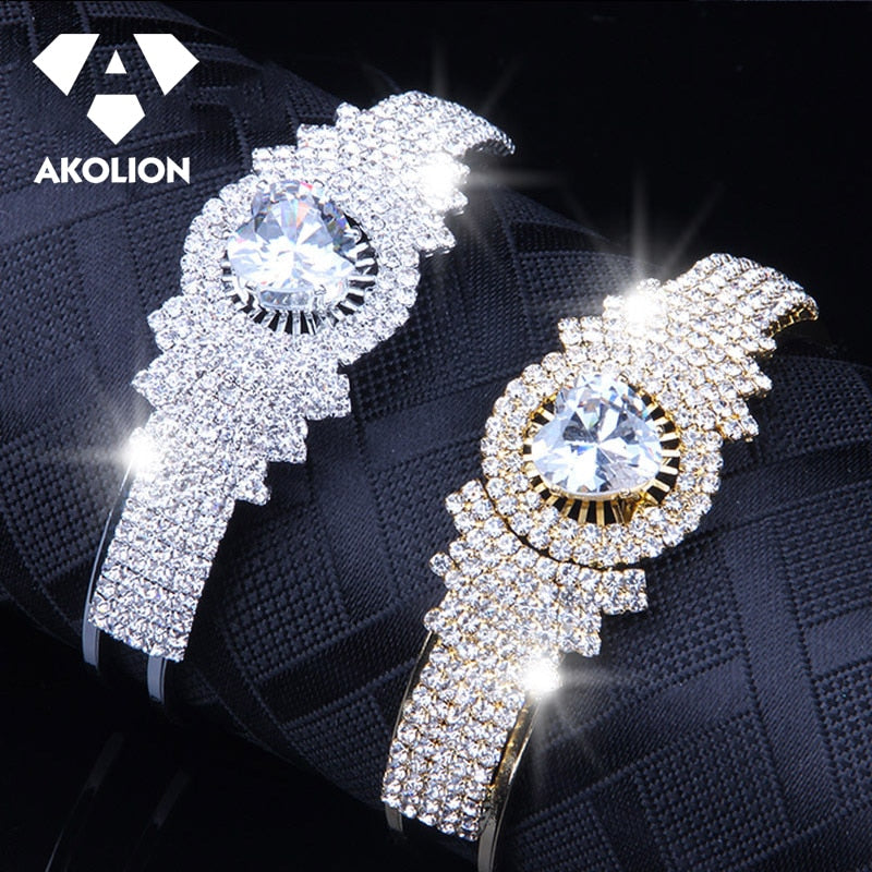 AKOLION Antique Women Accessories Simple  Zircon Stainless Steel Open Bracelet Fashion Bangles Jewelry Gift For Girl Btsl--40