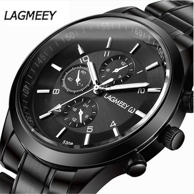Men Black Watches Luxury Full Steel Watch Masculino Relogio Men's Sports Business Erkek Kol Saati Dress Wristwatch Chronograph