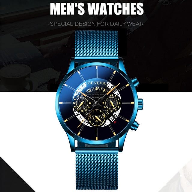 2020 Fashion Mens Business Casual Date Calendar Watches Luxury Blue Stainless Steel Mesh Belt Quartz Watch for Man Clock
