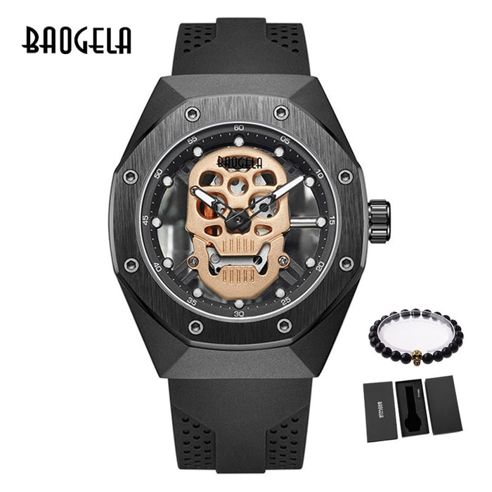 BAOGELA Skeleton Watches Men Luxury Top Brand Waterproof Wristwatch Skull Dial Military Sports Watch Man Relogios Masculino 1902