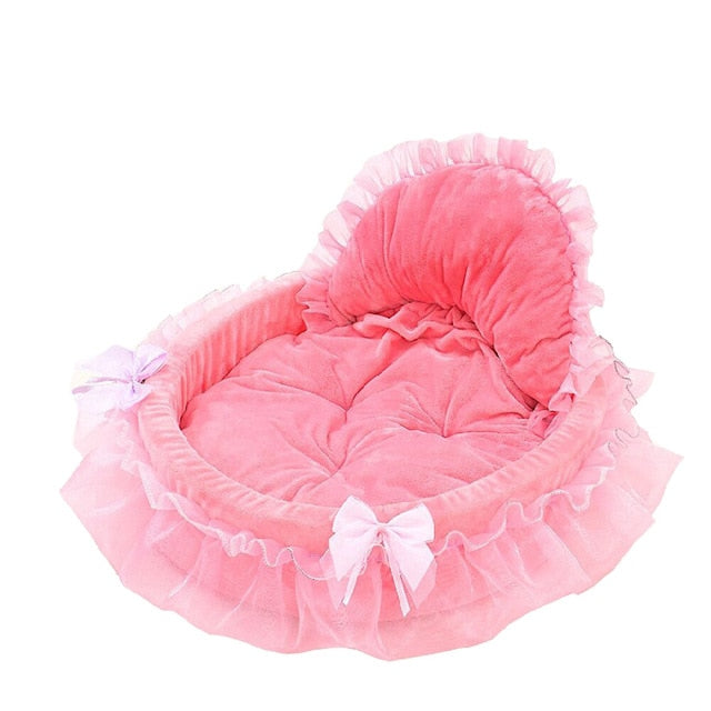 Pet Dog Pink Bed Kennel Puppy Princess Bows Lace Heart Elegant Lovely Bed Doghouse Pet Warm Bed For Small Puppy Dogs Mat