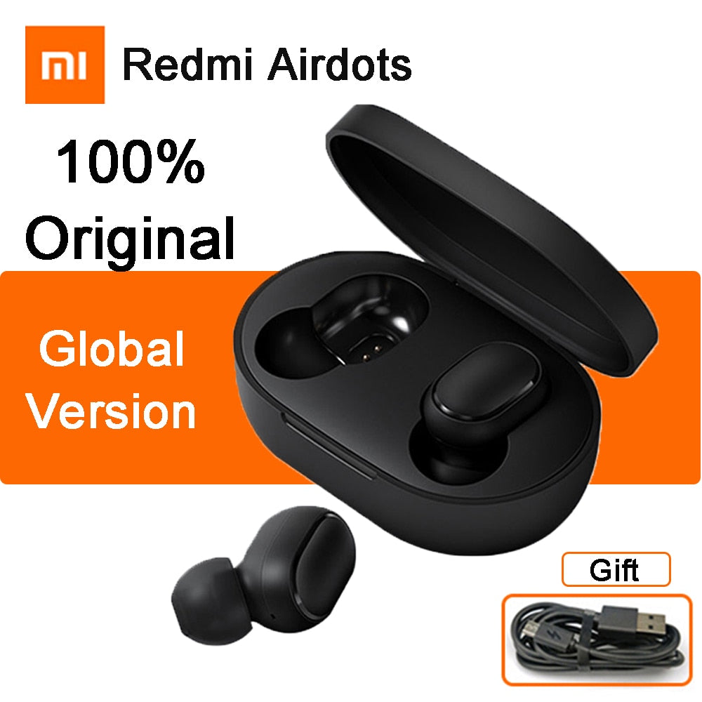 Original Xiaomi Redmi Airdots TWS Wireless Bluetooth Earphone AI Voice Control Stereo Bass Bluetooth 5.0 Noise reduction Earbuds