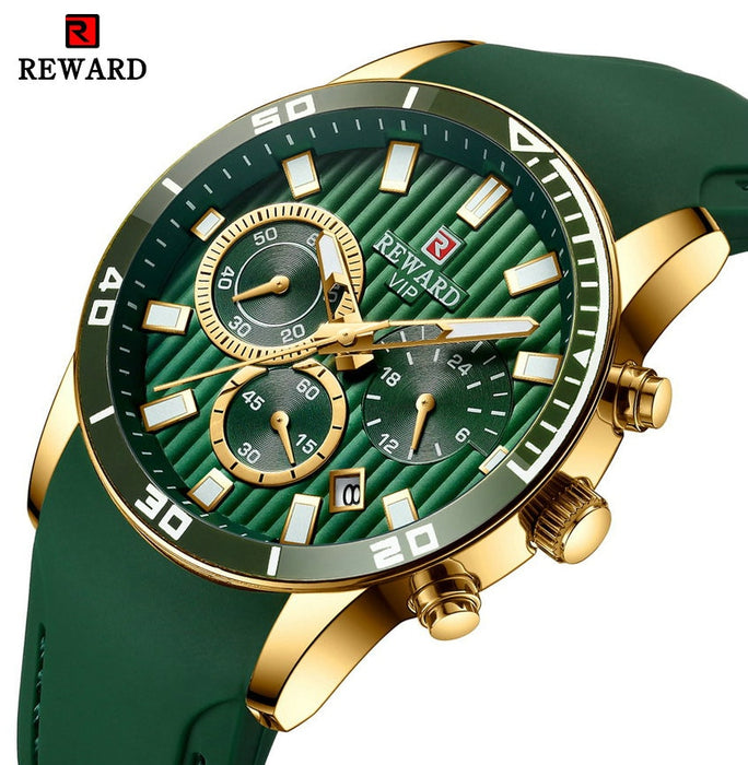 REWARD Top Brand Luxury Quartz Watch Men Three Sub-dial Auto Date Green Silicone Strap Fashion Vintage Analog Clock Waterproof