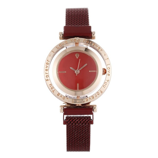 Quartz Ladies Luxury Women Watch Mesh Magnetic Buckle Personality Creative Rotating Dial  Dress Gift Business Casual Wrist Watch