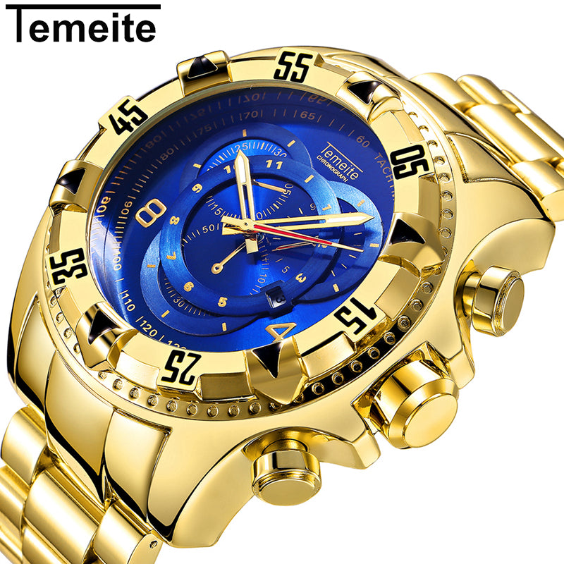 Temeite Fashion Men Quartz Watch Men Luxury Golden Stainless Steel Strap Big Dial Military Wrist Watches Relogio Masculino