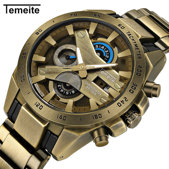 TEMEITE Retro chronograph Men's Watches Quartz Luxury Brand Military Army Men Watch Stainless Steel Relogio Masculino Dropship