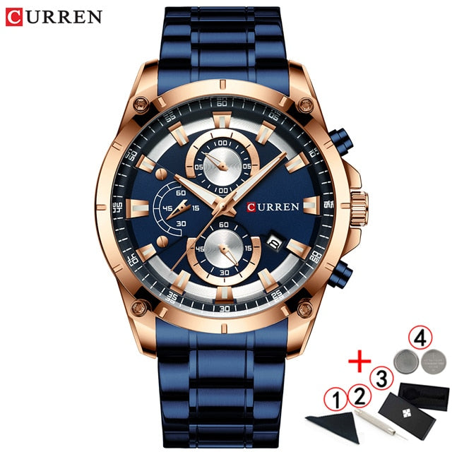 Men Watches Top Brand Luxury Curren Gold Quartz Watch Men 2020 Waterproof Chronograph Golden Male Wristwatch Relogio Masculino