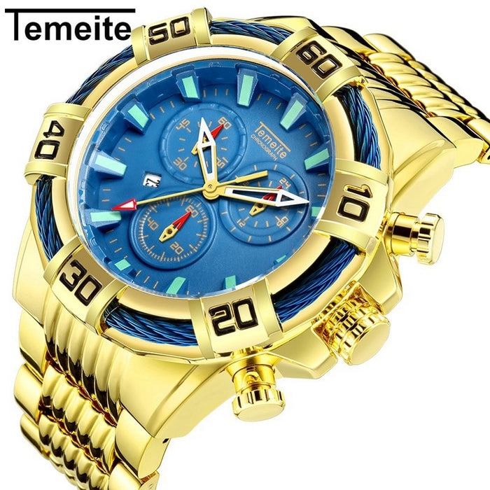 Temeite Mens Watches Luxury Golden Quartz Watch Men Military Waterproof Sport Wristwatches Male Clock Relojes Para Hombre Saat