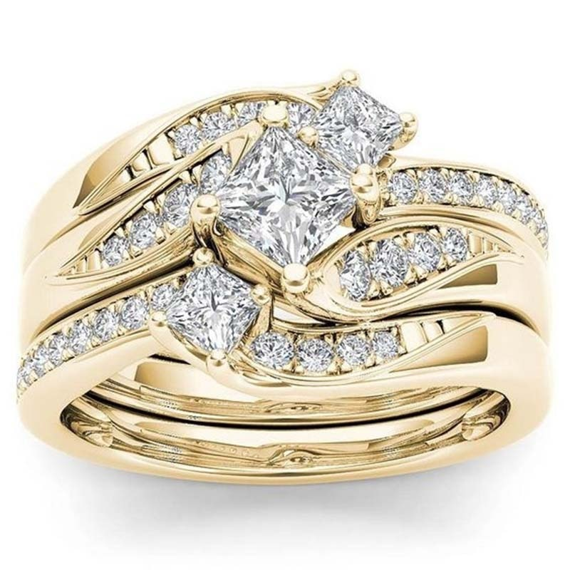 Princess 3Pcs set Charm Yellow Gold  Ring Anniversary Gift Engagement Bridal Wedding Rings Jewelry For Women