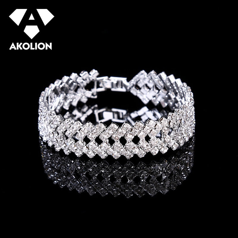 AKOLION Bracelet Women And Men'S Hip Hop Jewelry Material  2019 Alloy Fashion Jewelry Simple Style Silver Color Gift btsl--41
