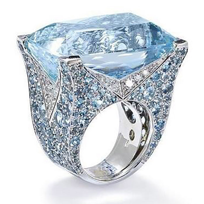 Rings For Women Fashion New Blue Square Ring Female Luxury High Temperament Retro Lake Blue Zircon Two-Tone Ring Gift For Women