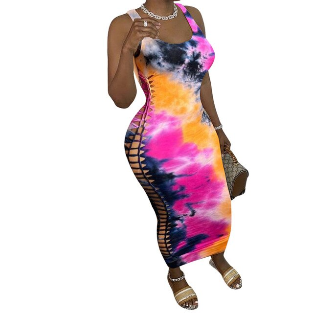 2020 new product hot sexy hollow out design tight lady dress club party fashion sexy tie dye print tank dress